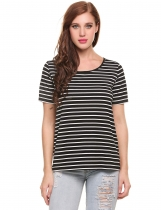 Black Elastic Stripes Crew Neck Short Sleeve Pullover T-Shirt