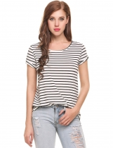 White Elastic Stripes Crew Neck Short Sleeve Pullover T-Shirt