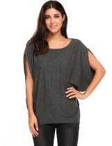 Gray Batwing Short Slit Sleeve Solid Pullover Loose T-Shirt