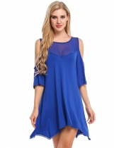 Royal Blue Women Sexy Cold Shoulder See-through Lace Patchwork Mesh Elastic Mid-Long T-Shirt