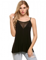 Black Spaghetti Strap Mesh Patchwork Sleeveless Cami Top