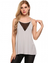 Women Sexy Deep V-Neck Mesh Patchwork Strappy Cami Top