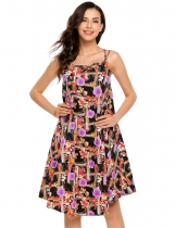 Purple Sleeveless Print Spaghetti Strap Loose Dress
