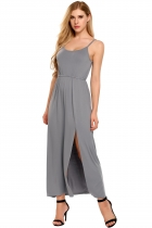 Grey Spaghetti Strap Solid Front Split Hem Maxi Dress