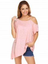 Pink Solid Short Sleeve One Shoulder Asymmetrical Hem Loose Tops