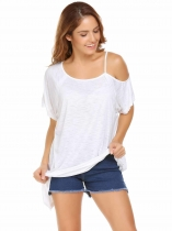White Solid Short Sleeve One Shoulder Asymmetrical Hem Loose Tops