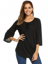 Женская мода O-Neck 3/4 Sleeve Lace-Up Solid Loose T-Shirt