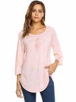 Pink O-Neck 3/4 Sleeve Drawstring Solid Loose Tops