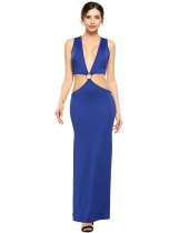 Royal Blue Sexy Deep V-Neck Sleeveless Cut-out Solid Maxi Dress
