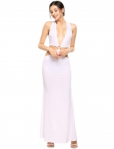 White Sexy Deep V-Neck Sleeveless Cut-out Solid Maxi Dress