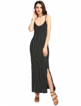 Femme noir Sexy rayé spaghettis sangle côté fente Backless robe Maxi