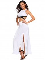 White Sleeveless Cutout Racerback Maxi Dress