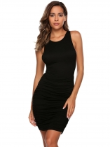 Black O-Neck Sleeveless Ruched Short Party Dress