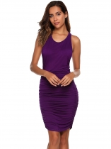 Purple O-Neck Sleeveless Ruched Short Party Dress