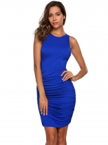 Blue O-Neck Sleeveless Ruched Short Party Dress