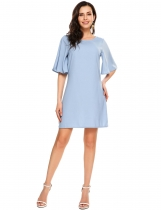 Light blue Flare Half Sleeve Solid A-Line Dress