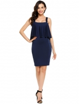 Navy blue Slim Strappy Ruffled Solid Bodycon Dress