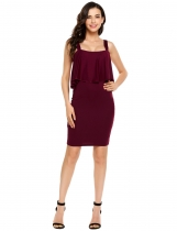 Wine red Slim Strappy Ruffled Solid Bodycon Dress