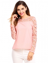 Pink Hollow Lace Patchwork O-Neck Long Sleeve Pullover
