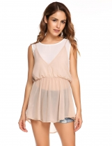 Apricot  pink Asymmetrical Hem False Two Pieces Chiffon Tops