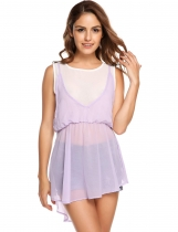 Light purple Asymmetrical Hem False Two Pieces Chiffon Tops