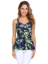 Navy blue Spaghetti Strap Sleeveless Prints Peplum Tops