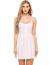 White Sleeveless Solid Spaghetti Straps Solid Dress