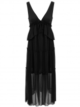 Black Plunging Neck Ruffles Drawstring Chiffon Dress