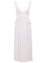 White Plunging Neck Ruffles Drawstring Chiffon Dress
