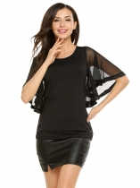 Black O-Neck Mesh Patchwork Flare Short Sleeve Solid Tops