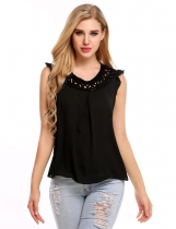 Black Hollow Out Round Collar Sleeveless Solid Tank Tops