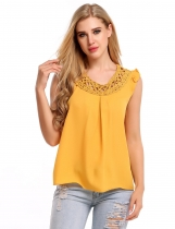Yellow Hollow Out Round Collar Sleeveless Solid Tank Tops