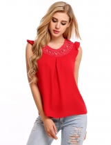 Red Hollow Out Round Collar Sleeveless Solid Tank Tops