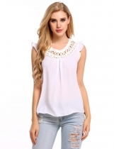 White Hollow Out Round Collar Sleeveless Solid Tank Tops
