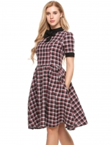 Red Vintage Style Peter Pan Collar Plaid Swing Dress