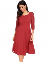 Wine red Vintage Styles Lace Hollow Out Sleeve Patchwork Dress