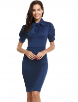 Blue Tie-Bow Neck Short Sleeve Solid Bodycon Pencil Dress