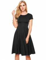 Black Vintage Styles Solid Elastic A-Line Dress
