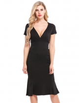 Black Vintage Styles Cross V-Neck Solid Bodycon Mermaid Dress