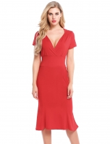 Red Femmes Vintage Styles Cross V-Neck à manches courtes Solid Elastic plissé Hem Bodycon Mermaid Dress