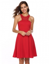 Rojo Mujeres Sexy sin mangas con encaje de halter Zip-up Party Dress