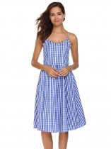 Blue Vintage Spaghetti Straps Plaid Dress