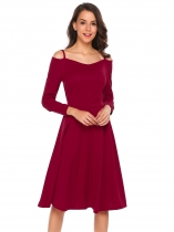 Wine red Solid Vintage Spaghetti Straps Long Sleeve Dress