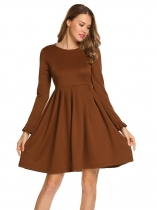 Brown Ruffles Long Sleeve Solid O Neck Ruched Swing Dress
