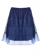 Navy blue Mesh Patchwork Casual Flared A-Line Tiered Skirt