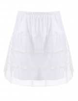 White Mesh Patchwork Casual Flared A-Line Tiered Skirt