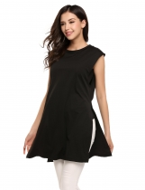 Black V-Neck Sleeveless Zipper Solid Long Side Split Tops