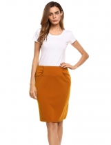 Brown Back Zipper Hem Split Solid Pencil Skirt