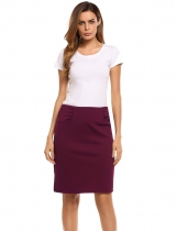 Wine red Back Zipper Hem Split Solid Pencil Skirt
