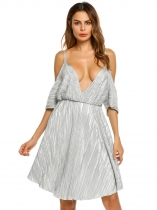 Light gray Spaghetti Strap Striped Cold Shoulder Backless Dress